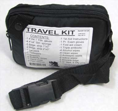 Travel First Aid Kit - Zippered Pouch (BLK)