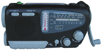 Dynamo Solar Radio with Flashlight, Compass and Siren, Clock