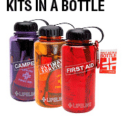 Survival Kit In A Bottle Survival Kits, emergency supply, emergency kits, survival information, survival equipment, child survival guide, survival, army, navy, store, gas, mask, preparedness, food storage, terrorist, terrorist disaster planning, emergency, survivalism, survivalist, survival, center, foods