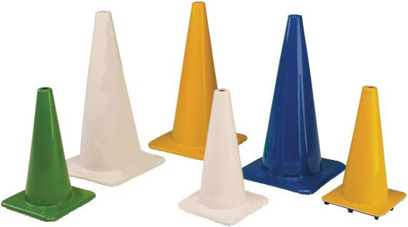 "28"" PVC Fluorescent Green Cone w/ 6"" upper / 4"" lower collars"