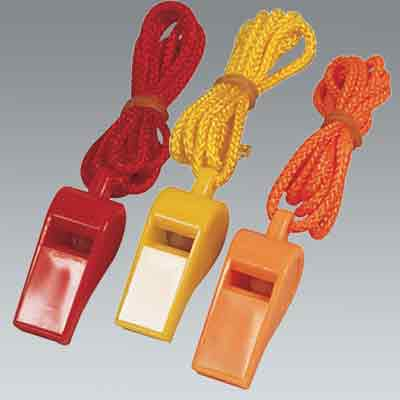 Plastic Whistle with lanyard. Get an attention if you are in an