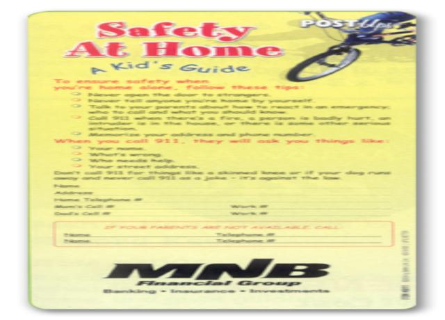 Safety at Home - A Kid's Guide Post Ups