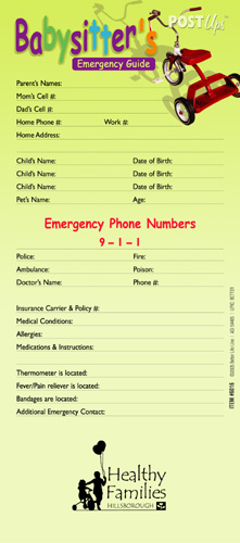 Babysitter Emergency Guide Post Up