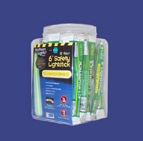 "6"" 12 Hour Safety Glow Sticks 48 Piece Display"