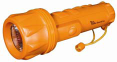 A case of water-resistant, 2 D-cell battery-operated flashlights (72 pieces/case)