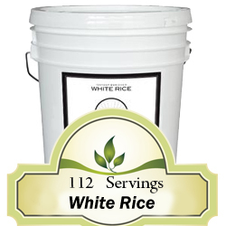 112 Serving Rice Bucket<br> 20 Years Shelf Life<br>Free Shipping!