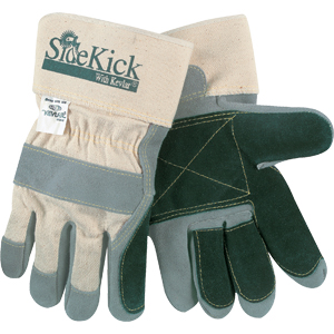 Side Kick Gloves w/Leather Palms & Full Feature Gunn Pattern, Large