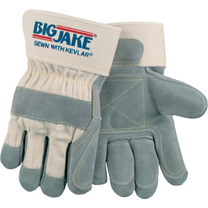Big Jake Gloves w/Double Leather Palm, Index Finger & Thumb, & 2 3/4&#34 Safety Cuff, X-Large
