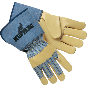 Mustang Leather Palm Gloves w/Premium, 2 1/2&#34 Safety Cuff, Large