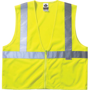 GloWear Vest w/ Zipper Closure, Lime, 2XL/3XL