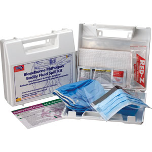 23-Piece Bloodborne Pathogen/Body Fluid Spill Kit, Plastic Case