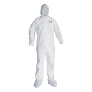 Zipper Front, Hood, Elastic Back/Wrist/Ankles A30 Coveralls w/Attached Boots, XL, 25/Case