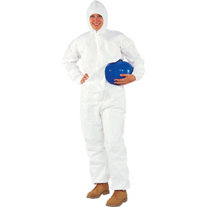 White, Zipper Front, Hood, Elastic Back, Wrists & Ankles A20 Coveralls, L, 24/Case