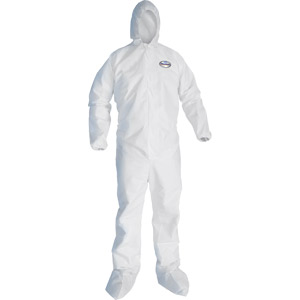 White, Zipper Front, Hood, Boots, Elastic Back, Wrists & Ankles, Large-24/Case