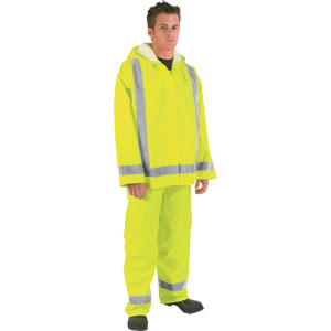 Luminator, .16mm, PU/Poly, Class III Jacket, Reflective Tape, Fluorescent Lime, 3X-Large