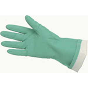Green Flock-Lined Nitrile, 15 mil, Textured Grip, L