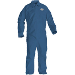Denim Blue, Zipper Front, Elastic Back, Wrists & Ankles A20 Coveralls, L, 24/Case