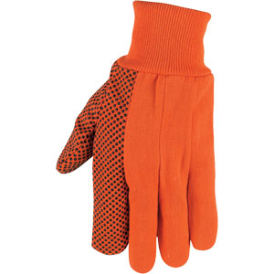 High Visibility Orange Canvas Gloves with Black Dots