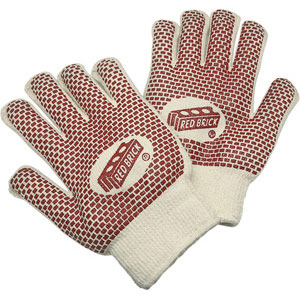 Red Brick 2 Ply Loop-In Terry Nitrile Blocks 2-Sides Large Gloves