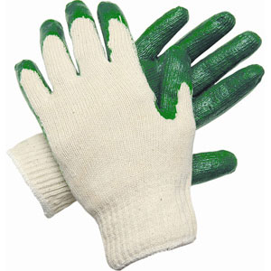 Medium Weight Cotton/Poly Green Latex Dip Palm 10 Gauge Small