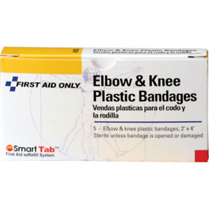 "2"" X 4"" Elbow and Knee Plastic Bandage, 5/Box"