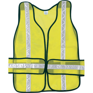 Chevron Tear Away, Poly Mesh Lime Safety Vest w/White Stripes