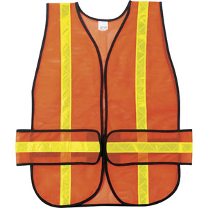 General Purpose, Chevron Poly Mesh, Orange Safety Vest