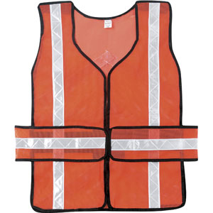 Chevron, Tear-Away Poly Mesh, Orange Safety Vest w/White Stripes