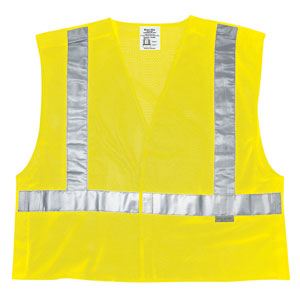 Class 2, Tear-Away, Poly Safety Vest, 2&#34 Silver Stripe, Fluorescent Lime, Medium