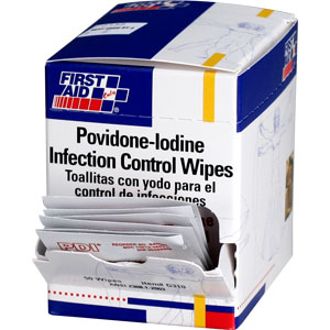 Povidone-Iodine Infection Control Wipes, 50/Box