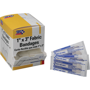 "Adhesive Fabric Bandages, 3/4"" x 3"", 100/Box"