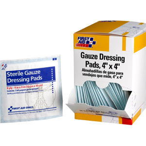 "Gauze Dressing Pads, 8 Ply, 4"" x 4"", 50/Box, 25 Packs (2/Pack)"