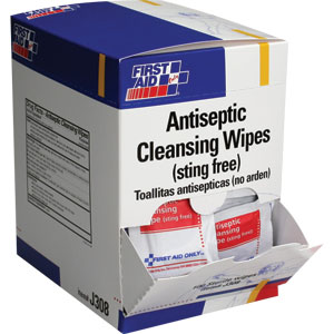 Antiseptic Cleansing Wipes, Sting Free, 50/Box