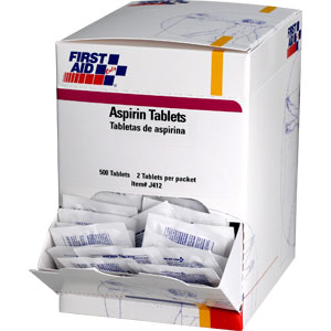 Aspirin Tablets, 500/Box, 250 Packs (2/Pack)