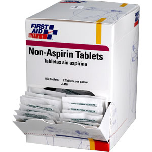 Non-Aspirin Tablets , 500/Box, 250 Packs (2/Pack)
