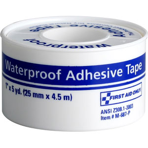 "Waterproof First Aid Tape w/Plastic Spool, 1"" x 5 yds"