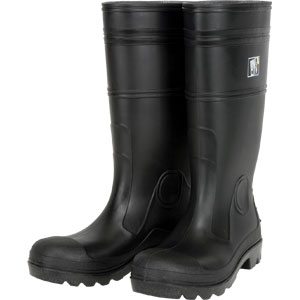 ~BOOT SZ10 BLK 16 PVC W/ STEEL TOE