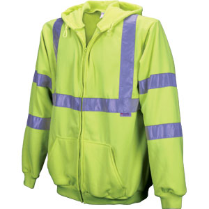~FLEECE ZIP JACKET W/HOOD CL3 LIME LG