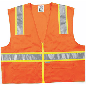 Class 2 Safety Vest, Orange, Lime and Silver Stripes