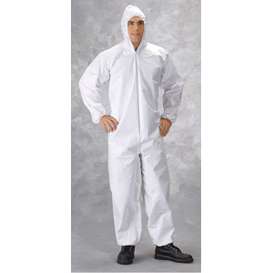 Zipper, Attached Hood, Elastic Wrists, & Ankles w/Nylon Scrim Coveralls, L, 25/Case
