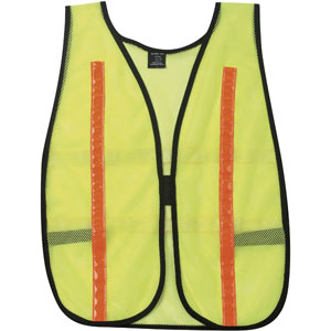 General Purpose Poly Mesh, Lime Safety Vest with Red/Orange Stripes