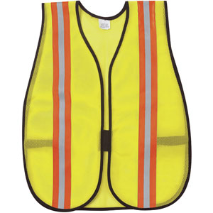 General Purpose Poly Mesh, Lime Safety Vest w/Reflective Striping