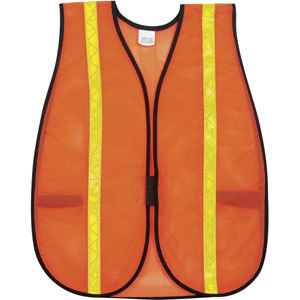 General Purpose Poly Mesh, Orange Safety Vest w/Yellow Vinyl Stripes
