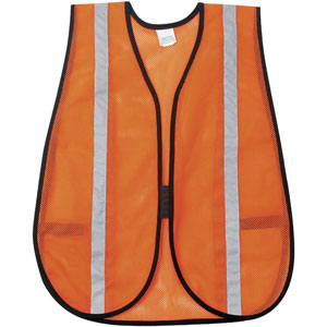 General Purpose Poly Mesh, Orange Safety Vest w/Silver Stripes