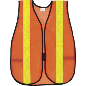 General Purpose Poly Mesh, Orange Safety Vest w/Lime Stripes