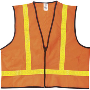 VEST, 100% POLY W/ZIP CLOSURE, ORANGE, X-LARGE