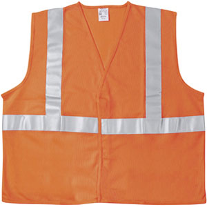 ANSI 100% Poly, Safety Vest, Two 2&#34 Silver Stripe, Orange, Large