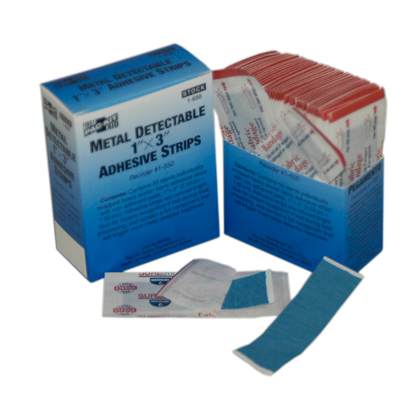 "Metal Detectable Fabric Adhesive Strips, 1"" x 3"" (50/Box)"