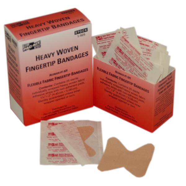 Heavy Woven Fabric Fingertip Bandages, 1 3/4&#34 x 2&#34 (25/Box)