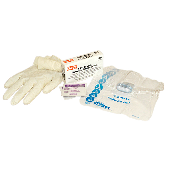 Kit w/ CPR Face Shield & One-way Valve, (2) Chloride Antiseptic Towelettes, & (2) Latex Exam Gloves